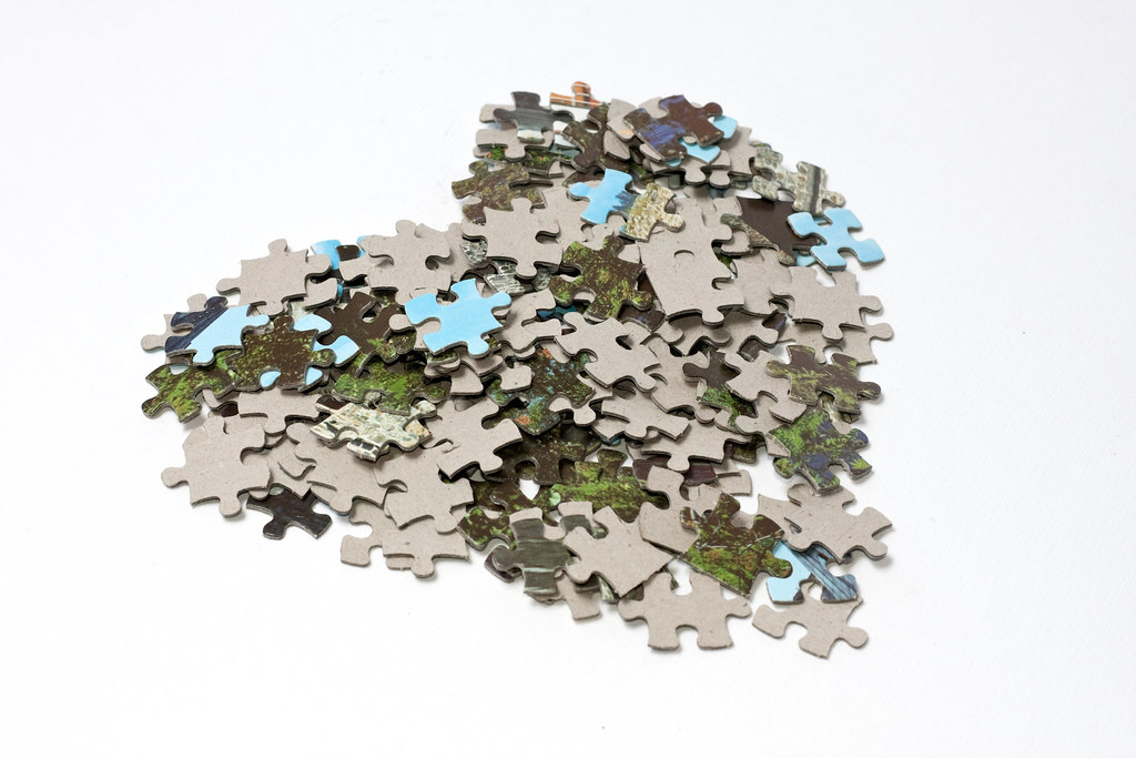 Tilted Heart Made Of Lots Jigsaw Puzzle Pieces