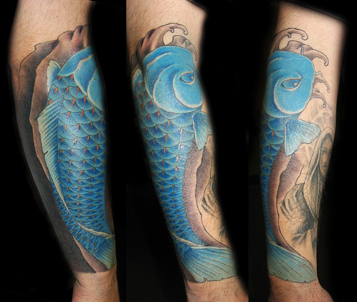 Blue koi this blue koi tattoo was done by jared preslar for Blue koi fish meaning