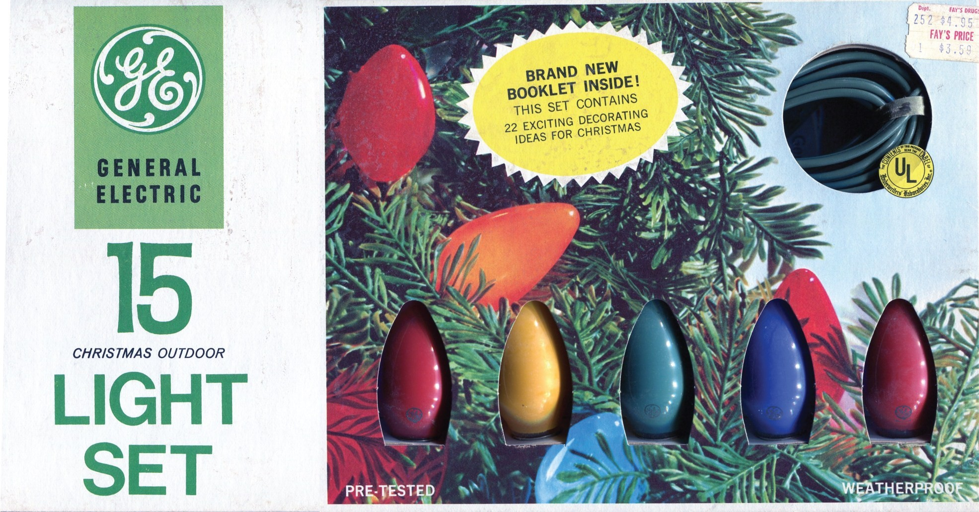 General Electric 15 Christmas Outdoor Light Set - 1971