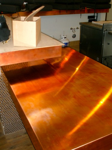 Copper bar top savvy cellar flickr for How to make a copper bar top