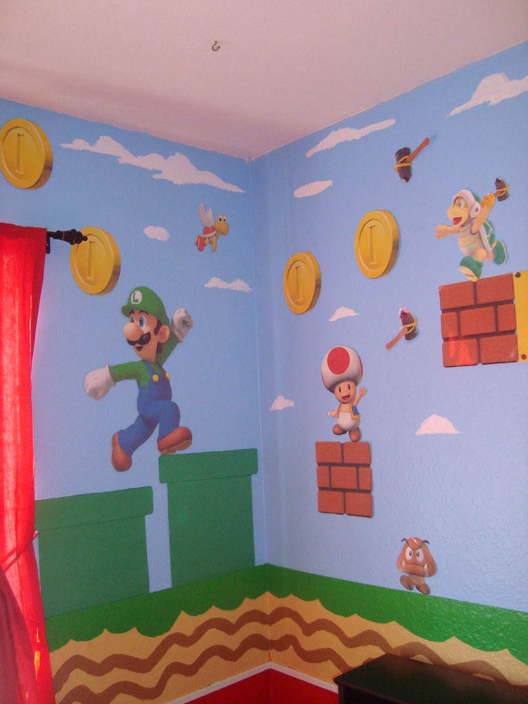 cuarto de mario bros parte de la pared.  Super Mario ...