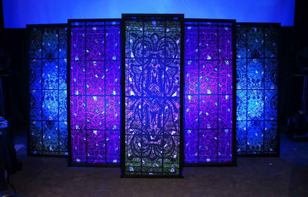 Backlit Faux Stained Glass Stage Element Front The