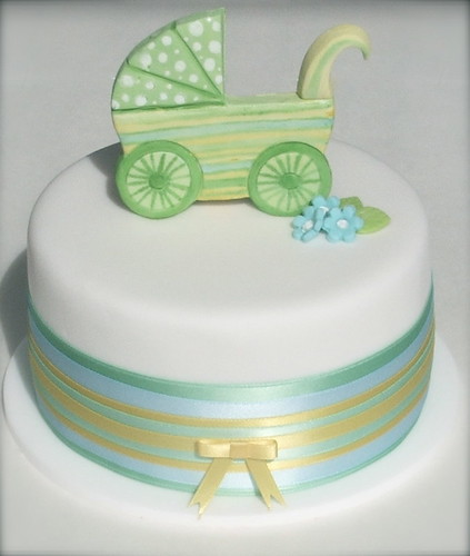 Retro Baby Shower Cake Request was for a dummy cake with ...