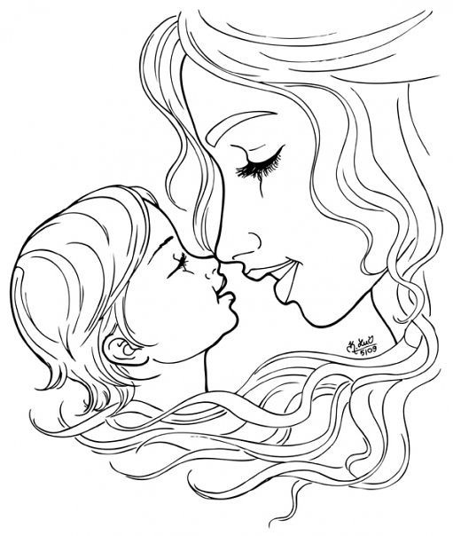 Line Drawing Baby : Baby and mom drawing pixshark images galleries