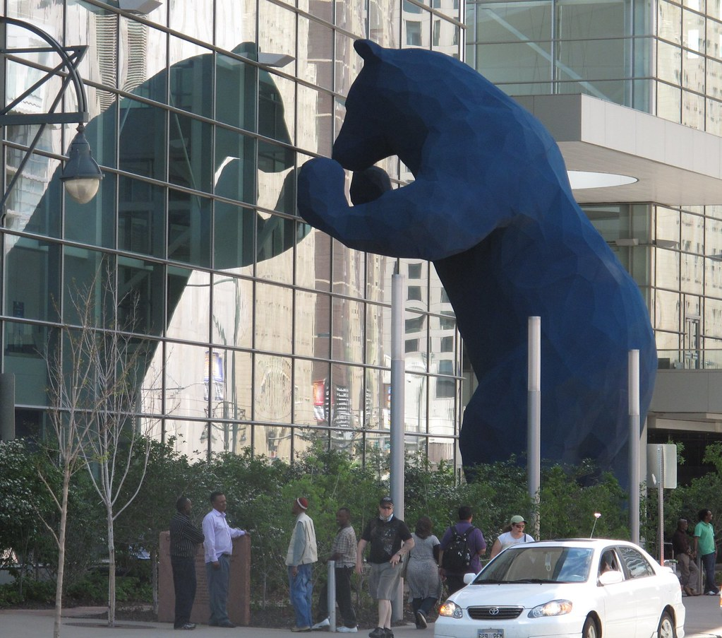 Colorado Convention Center With Lawrence Argent Sculpture: Blue Bear Looking Into Colorado Convention Center