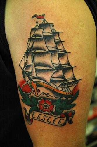 Sail ship tattoo by keelhauled mike black anchor denton ma for Maryland tattoo ideas