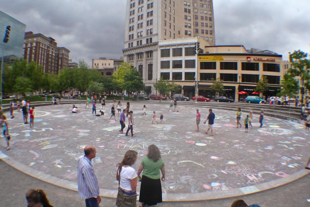 Rosa Parks Circle 2010 Sidewalk Chalk Flood Grand Rapids J