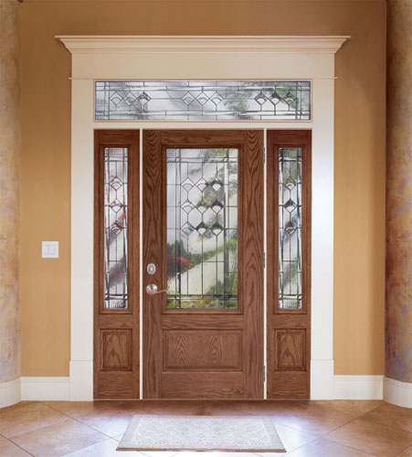 ... Feather River Door Fiberglass Entry Doors   Medium Oak Door U0026 Sidelites  W/ A Rectangular
