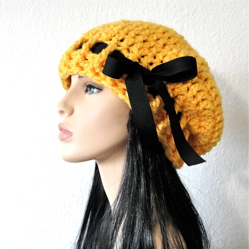 ... Sunflower Yellow Crochet Beret Slouchy Hat with Black Grosgrain Ribbon  Bow by kanokwalee on etsy  d3673ed85122