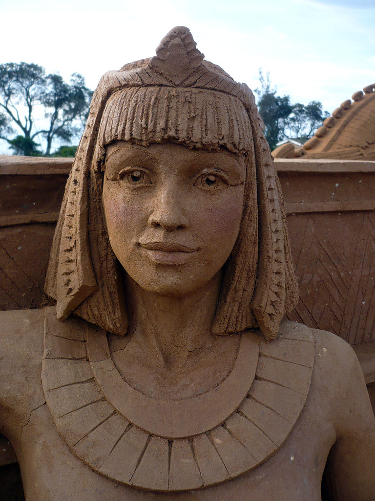 Cleopatra detail of ancient egypt sand sculpture by