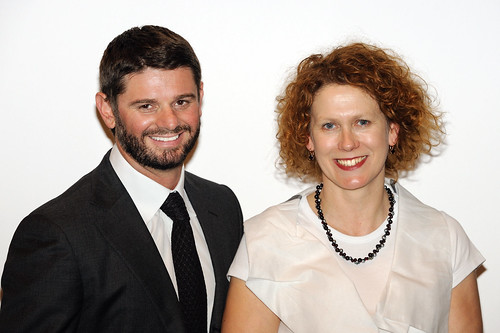 UQ Art Museum Director Nick Mitzevich with judge Elizabeth Ann Macgregor, the Director of the Museum of Contemporary Art, Sydney | by The University of Queensland