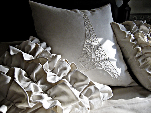 Eiffel Tower Pillow Cover, Ivory on Ivory | by elizabethmwelsh