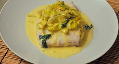 Poached Halibut with Saffron-Leek Sauce | by Turntable Kitchen
