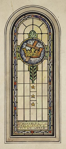 Stained glass window design with cross and crown stained for Window glass design 5 serial number