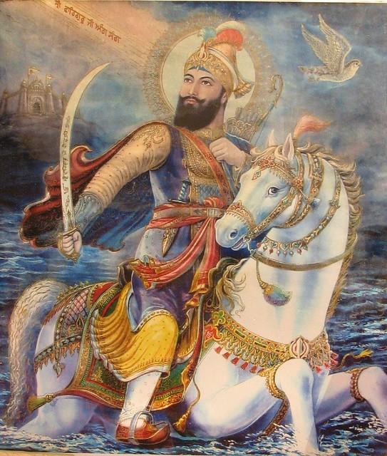 Guru Gobind Singh on Horse Guru Gobind Singh ji on