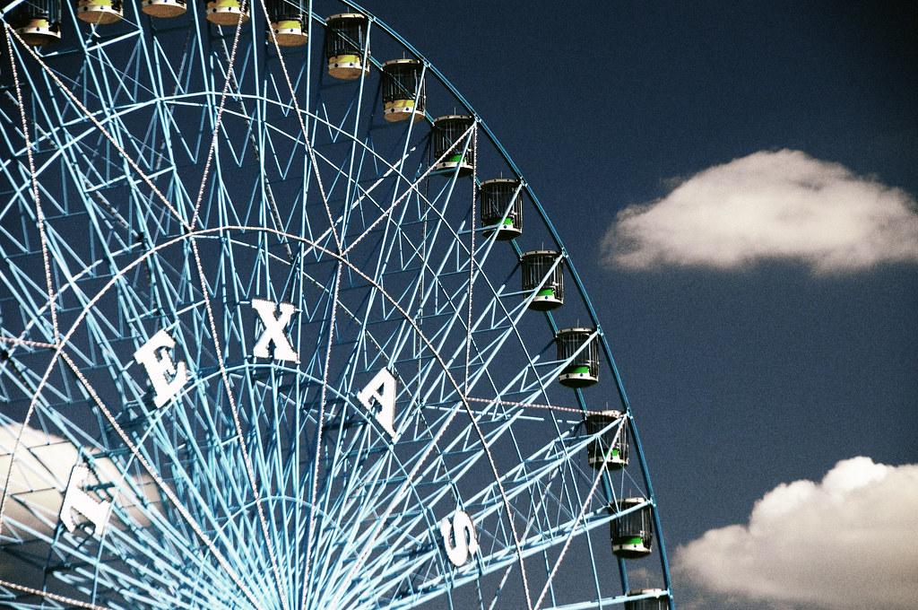 Texas star ferris wheel dallas state fair blue sky clouds - Interior decorating jobs dallas tx ...
