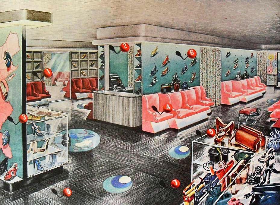 ... 1940s Shoe Store Modern Color Flooring Advertisement Vintage Interior  Design Illustration | By Christian Montone
