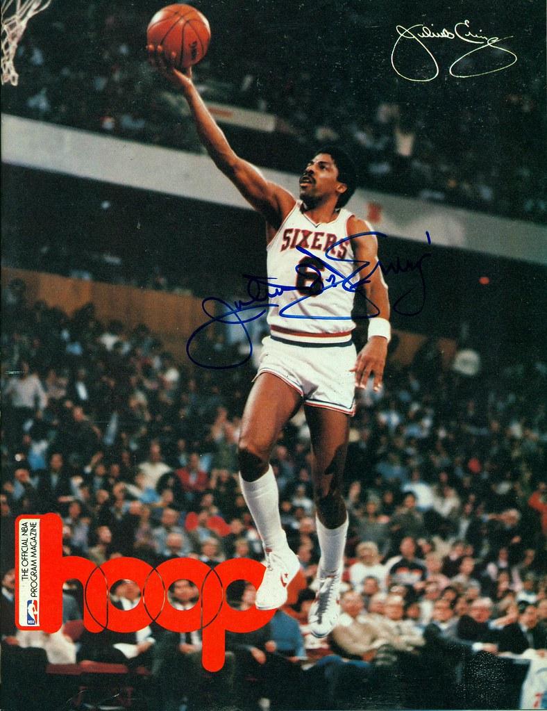 1984 1985 NBA Hoop Magazine Autographed by Julius Dr J Erv…