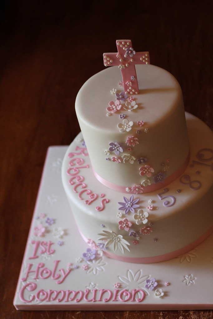 First Communion Cake Images : Rebecca s 1st Holy Communion cake Bottom tier is marble ...