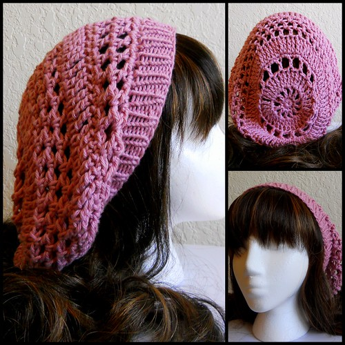 Pink Crochet Hat w/ Knit Band | by StrangeKnits