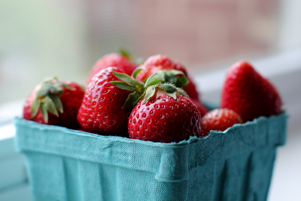 Fresh Strawberries On Angel Food Cake