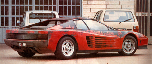 matt black ferrari testarossa test mule with the paint