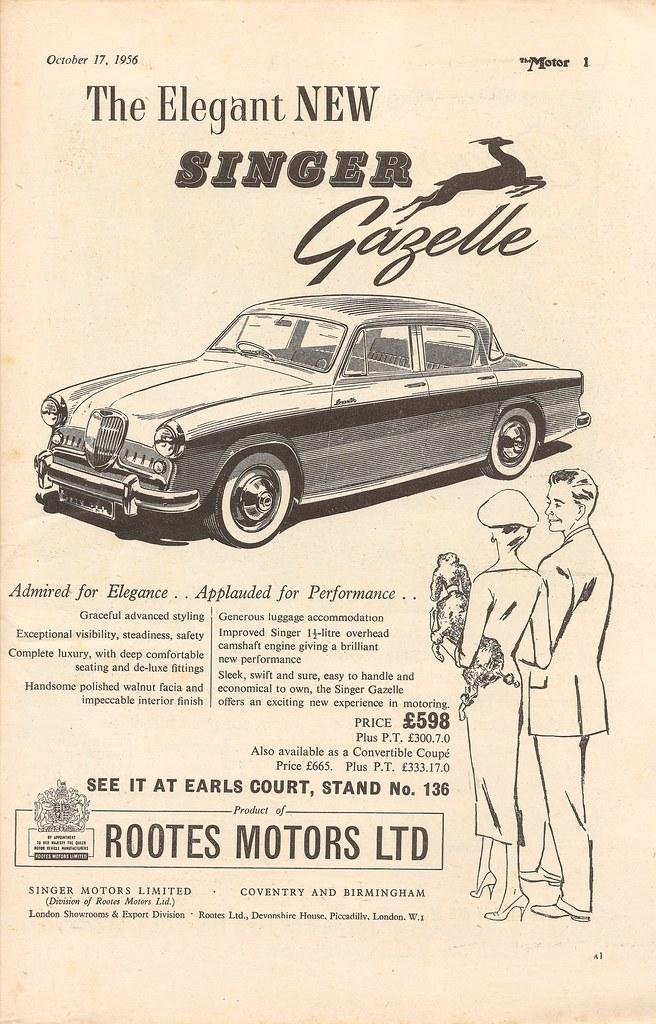 S And S Motors >> Singer Gazelle car advert by Rootes Motors, 1956 | Singer ...