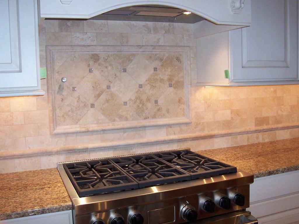 Limestone Kitchen Backsplash Custom Limestone Backsplash With Crushed Glass Accents Flickr