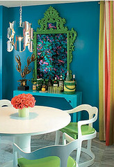 Turquoise dresser and green mirror | by Hidden In France