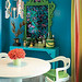 Turquoise dresser and green mirror