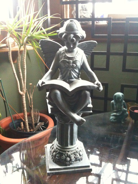 Claimed large fairy reading book statue 25 larger item flickr - Reading fairy garden statue ...