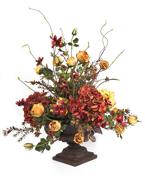 Red and gold round arrangement silk flowers artificial