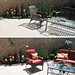 backyard living space+patio+before and after