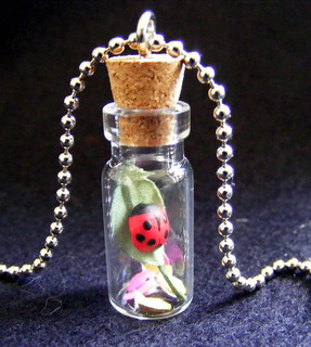 ladybird glass bottle pendant | by Christine Salt of the Earth