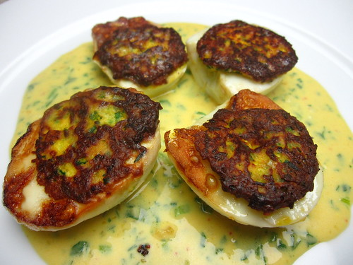Oeufs de Jeanette (Jacques Pepin's Fried Deviled Eggs) | by SeppySills
