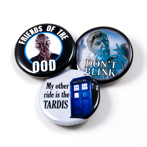 Dr. Who - TARDIS, Ood and Don't Blink (Weeping Angel) - Set of 3 pinback buttons | by jnhkrawczyk