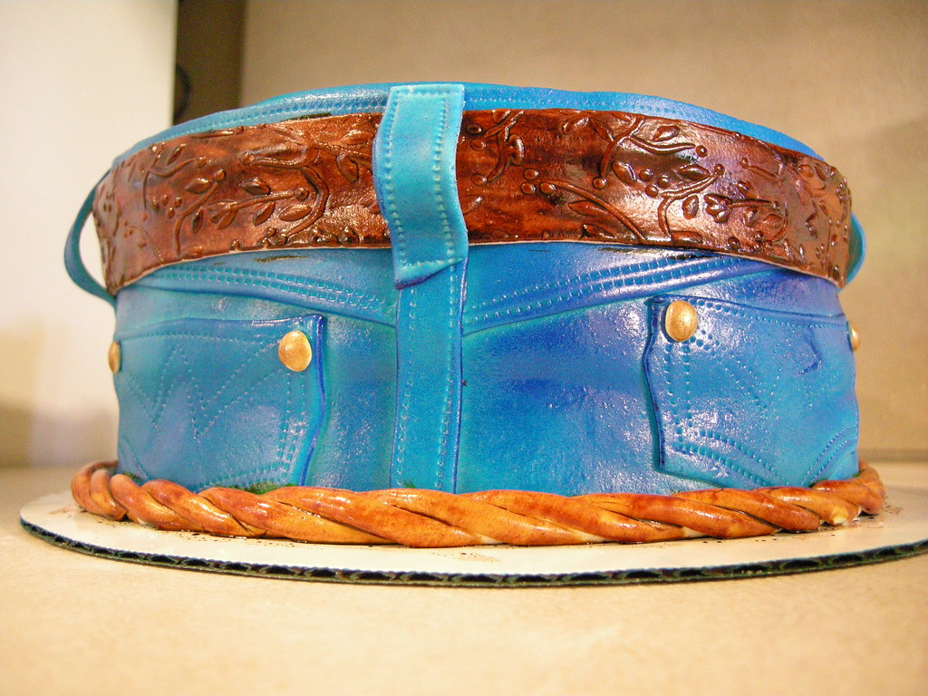 Cake Decor Without Fondant : jeans cake back Cake is covered in fondant and all decor ...