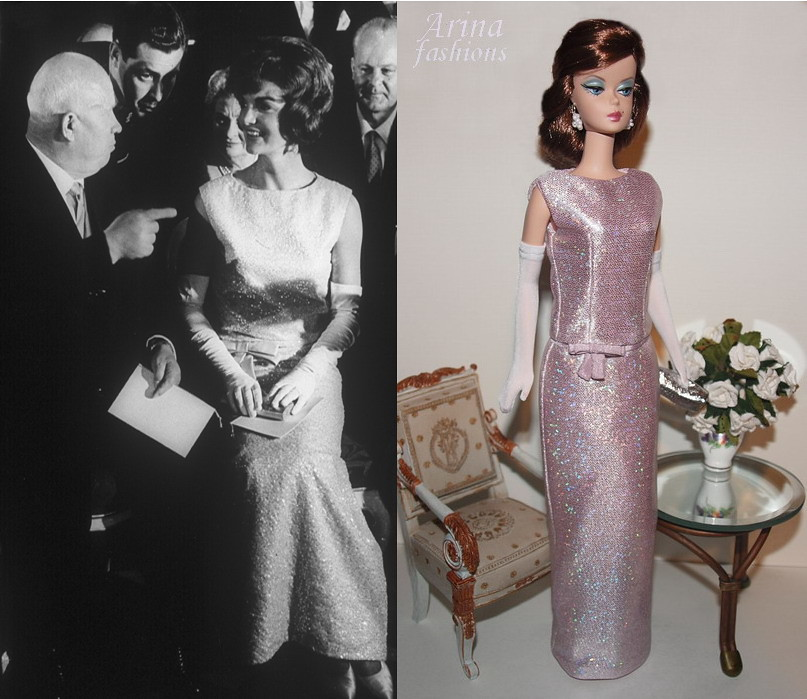 Jacqueline kennedy evening dress vienna silkstone barbie for Cocktail jacqueline