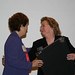 Pauline Malysko greeting Suzanne Chadwick at Leadership  Dinner