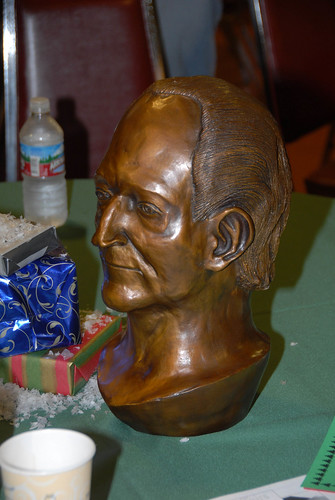 Bronze bust of President Rush presented to him at Christmas party | by California State University Channel Islands