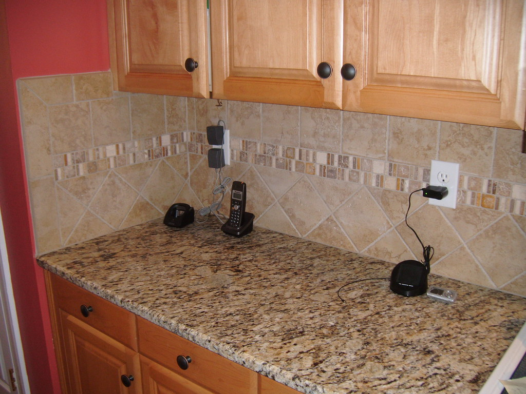 Santa Cecilia Granite With Tile Backsplash Charlotte Nc