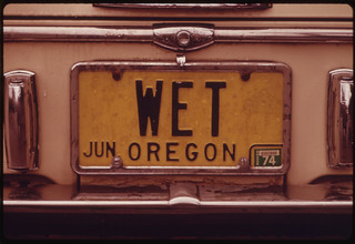 "An Oregon Personalized License Plate with the Letters ""Wet""...11/1973 