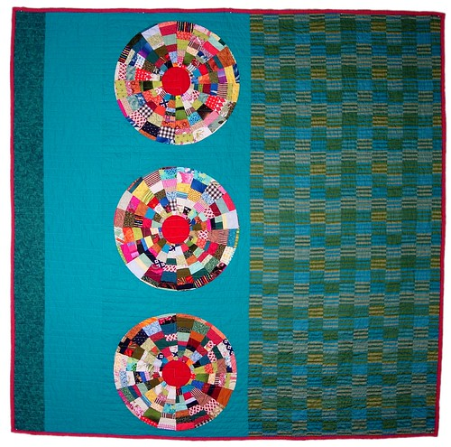 Turquoise Circles Quilt Front by Peppermint Pinwheels | by Peppermint Pinwheels