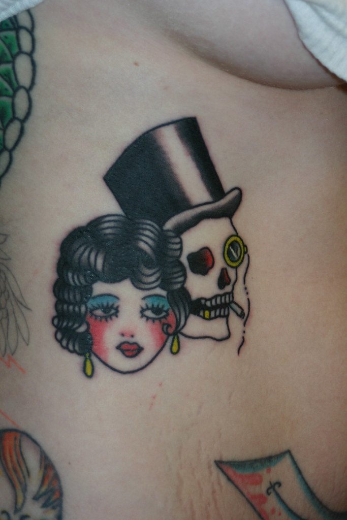 old school girl and skull tattoo | A Gypsy Rose Tattoo New