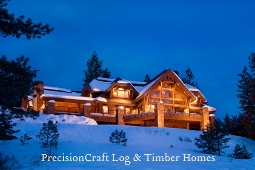 Timber Frame Home Exterior At Dusk Located In Idaho Pr