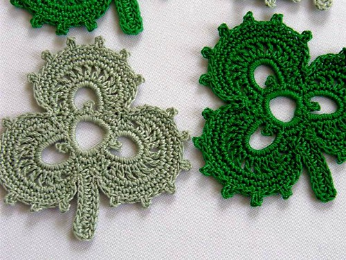 Free Crochet Shamrock Doily Pattern : Irish Shamrock Coasters Crocheted with cotton crochet ...