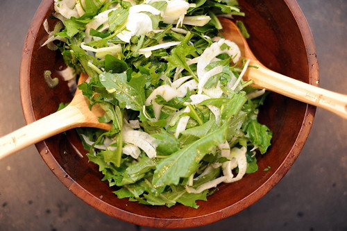 dandelion salad with shaved fennel, celery and parsley | by sassyradish