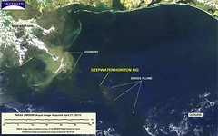Deepwater Horizon Fire - MODIS/Aqua Detail (with interpretation), April 21, 2010