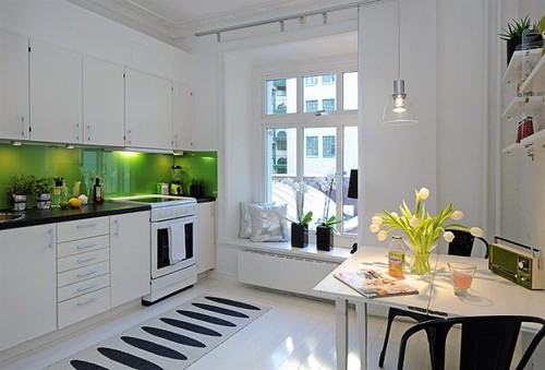 White Kitchen Black And Green Accents Love The Clean