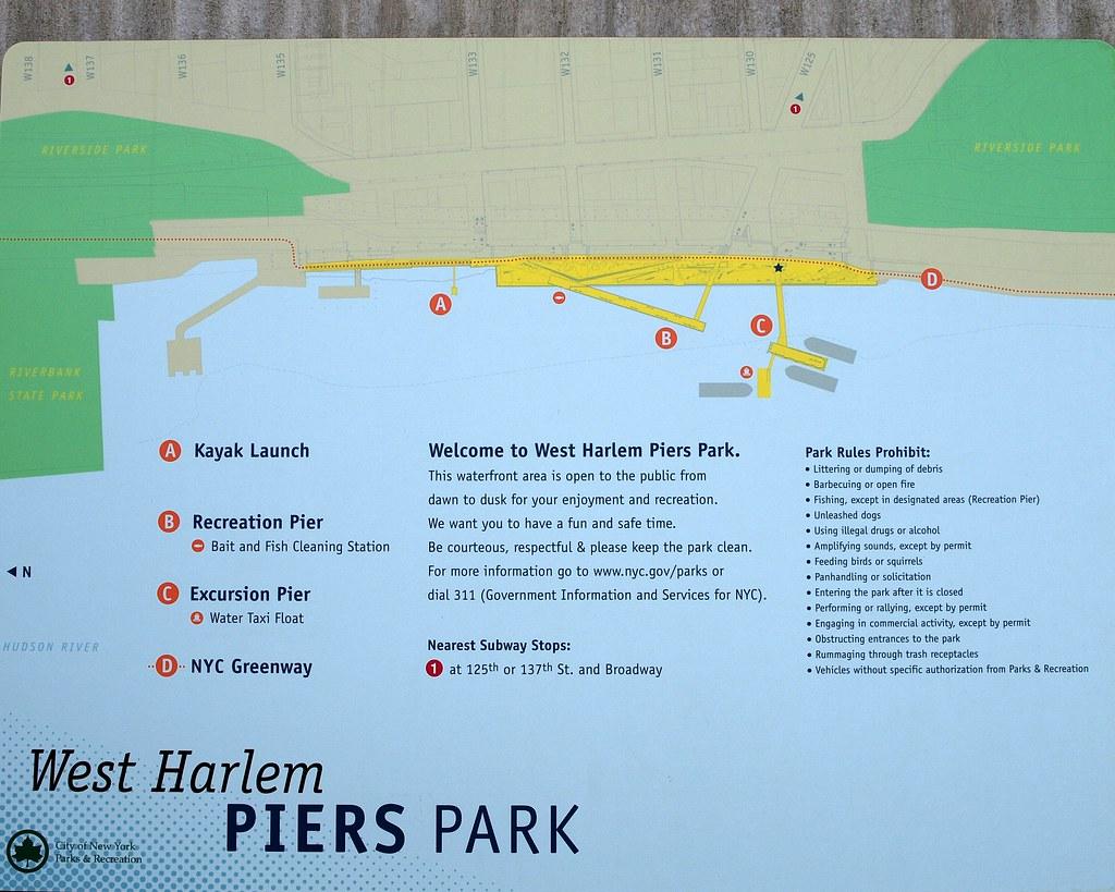 West Harlem Piers Park Map Hudson River New York City  Flickr